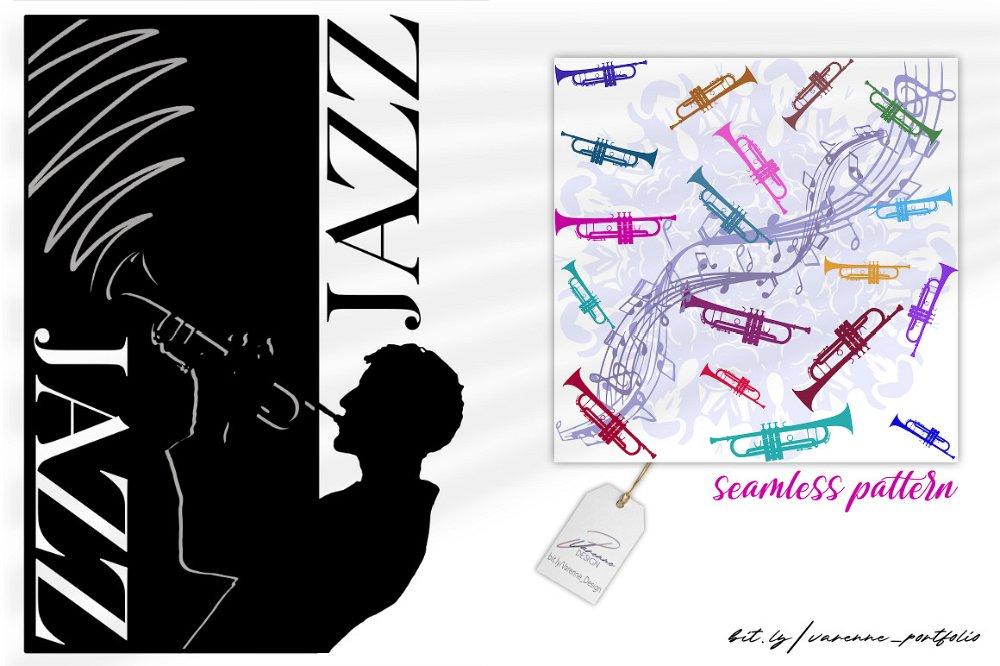 motif 'seamless pattern' sur le thème du Jazz - Varenne Design